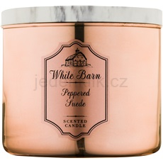 Bath & Body Works White Barn Peppered Suede 411 g vonná svíčka